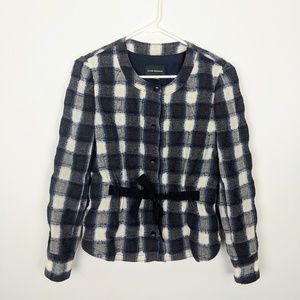 Club Monaco Wool Belted Blazer Jacket Checkered